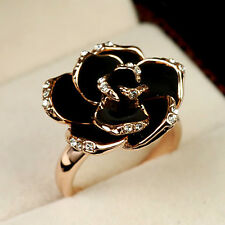 18K Gold Plated GP Swarovski Crystals Rose Cocktail Ring  R309