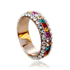 Colorful Swarovski Crystals Amethyst Ruby Sapphire Band Ring R326