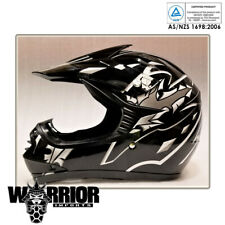 Motocross Helmet - Kids Child Youth, Black, XS S M L XL, Aust Std Dirt bike Quad