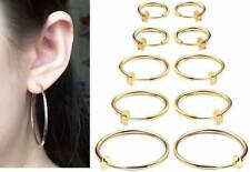 "1 Pair Spring Clip On Hoop Earrings Goldtone Small:1/2"",13mm to XL:2 5/16"",60mm"