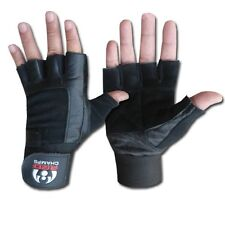 Leather Weight Lifting Gloves Long Wrist Wrap Padded Double Leather Training Gym
