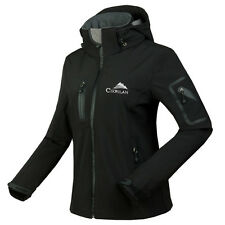 New Woman Windstoper Soft Shell Breathable Hiking Golf Ski Outdoor Jacket Black