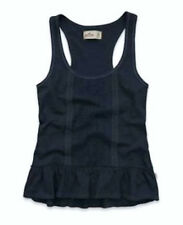 HOLLISTER Abercrombie SUNSET CLIFFS Navy Blue Racerback Tank Top Shirt NEW Sz S