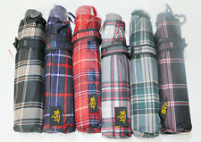 BRAND NEW CLASSIC FOLDABLE COMPACT FOLDING UMBRELLA IN SCOTTISH TARTAN DESIGNS
