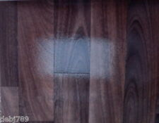 GLOSSY DARK WOOD VINYL CUSHION FLOORING 2M WIDE KITCHEN LIVING AREA SHINY FINISH