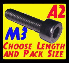 A2 Stainless M3 Cap Head Allen Bolts (please choose length and pack size)