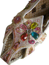 Indian design, Ladies Leather Sandal with embroidery & beads in Cream (2 sizes)