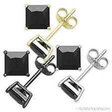 Square Princess Cut Faux Onyx Cubic Zirconia .925 Sterling Silver Stud Earrings