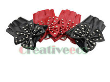 New Leather Butterfly Rivets Punk Dance Performance Gloves Studded Fingerless