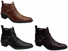 New Mens Black Brown Tan Faux Leather Cowboy Boots Riding Biker Casual Stylish