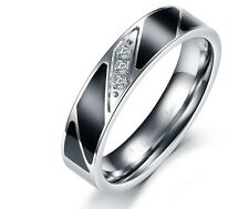 mens Titanium  Steel 5mm urban crystal black and silver colour finger rings band