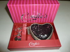CANDIE'S BLACK OR SILVER CHARLOTTE SEQUIN HEART POUCH COIN PURSE & KEY CHAIN SET