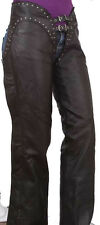 WOMENS BLACK NAKED LEATHER HIP HUGGING MOTORCYCLE BIKER CHAPS STUDS RIVETS S