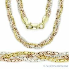 925 Sterling Silver 14k Yellow Rose Gold Link Braided Multi-Chain Rope Necklace