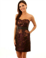 PURPLE/BLACK/GOLD FITTED STRAPLESS EVENING COCKTAIL DRESS