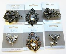 Scarf Brooch Hat Pin Vintage Style Crystal Coloured Stone Various Designs Retro