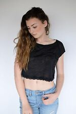 FREE PEOPLE WOMENS LACEY BURNOUT MUSCLE CROP BLACK TOP SHIRT TEE SIZE XS, S, M
