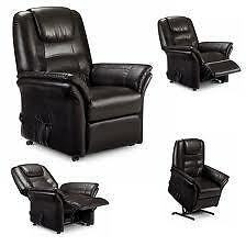 Riva Electric Rise And Recliner Brown/Black Faux Leather Chair.