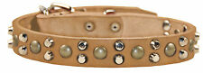 D&T High Quality Dog Collar Tan Leather Bumps and Bits