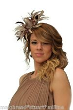 New Nude & Purple Feather Fascinator Hat, Wedding, Races ANY colour available