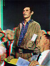 Freedom of Speech Town Meeting Norman Rockwell Saturday Evening Post 3D Anaglyph