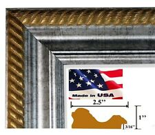 Gold Rope/Silver Picture Poster Frame 2.5 inch Wood Composite 21 in