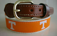 University of Tennessee Mens Leather Canvas Embroidered Belt pick siz