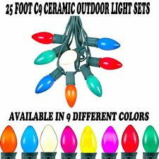 25 Foot C9 Outdoor Ceramic Christmas String Light Set - Green Wire - 25 Bulb Set