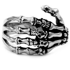 Stainless Steel Biker Ring with Gothic Skeleton Hand 913113