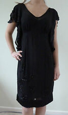 New Episode 100% silk dress sequinse size 8 10 12 14 black lined fast deivery