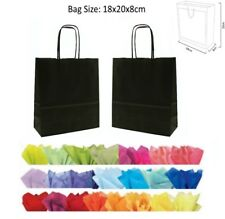 Cheap 20x18x8cm Black Paper Party Loot Bag Wedding Favour Gift Bags & Tissue