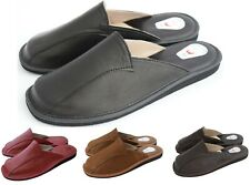 Natural Calf Leather Hand Made Black Brown Mens Slipper Shoes Mule