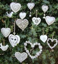 Vintage Hanging Hearts, Chic Distressed Wedding Decorations, Favours, Favors