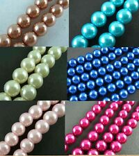 Round Glass Pearl 50Pcs Loose Spacer Faux Charm Beads 8mm 6Colour-NC