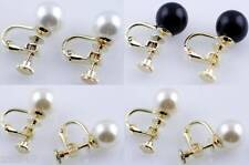 1 Pair Goldtone Screw Back Faux Pearl Round Stud Earrings White,Off White,Black
