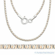 Sterling Silver & 14k Rose Gold 1mm 8-Sided Snake Link Italian Chain Necklace