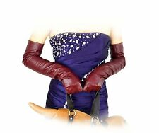 """60cm(23.6"""")long plain style top quality leather evening/opera gloves*burgundy"""