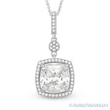 Cushion Cut Micro-Pave CZ Crystal Halo Pendant in 925 Sterling Silver w/ Rhodium