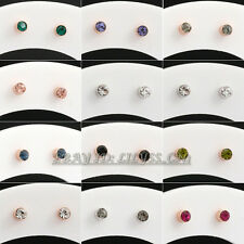 Fashion Rhinestone Simulated Gemstone 2mm Stud Earrings 18KGP Crystal