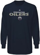 Edmonton Oilers NHL Licensed Majestic Thread Long Sleeve Navy Shirt Big Sizes