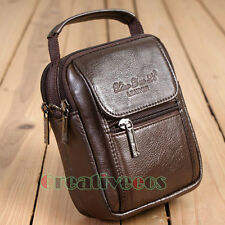 Men Genuine Leather Stereotypes Messenger Shoulder Fanny Pack Belt Waist Bag