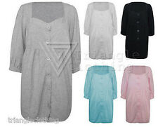 Ladies Womens Cotton Dress 6Button Front 3/4 Sleeve Plus Size Ruched Casual Top