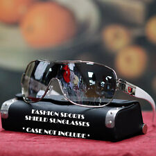 KHAN Designer Shield Sunglasses Trendy Sports Metal Style New Mens UV 400 Shades