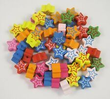 14MM mixed color stars on two sides wooden beads jewelry DIY making 100pcs
