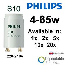 Packs of Philips 4-65W S10 Fluorescent Tube Ecoclick Starters - 220-240V