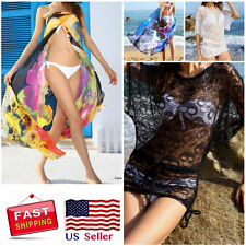 NEW Sexy beach wear swimsuit cover up black & white sheer skull tunic S/M/L