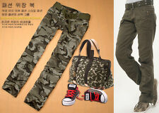 Womens Ladies Straight Slim Camo Pants Cargo Military Army Jeans Trousers #552