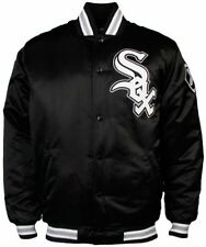 Chicago White Sox MLB Licensed Majestic Athletic Black Satin Jacket Big Sizes
