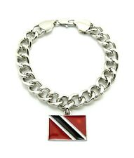 NEW TRINIDAD AND TOBAGO FLAG PIECE WITH 10mm LINK CHAIN HIP HOP BRACELET - XB353