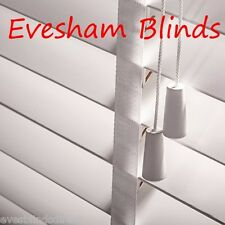 SUPERIOR MADE TO MEASURE WHITE WOOD WOODEN VENETIAN BLIND 35MM WITH TAPES